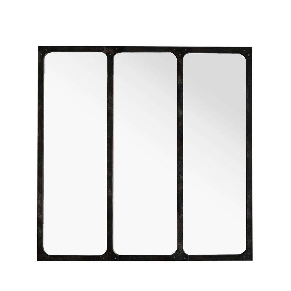 Miroir style verri re en m tal lea by drawer for Miroir verriere