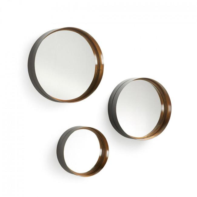 Set 3 miroirs métal doré Wilton