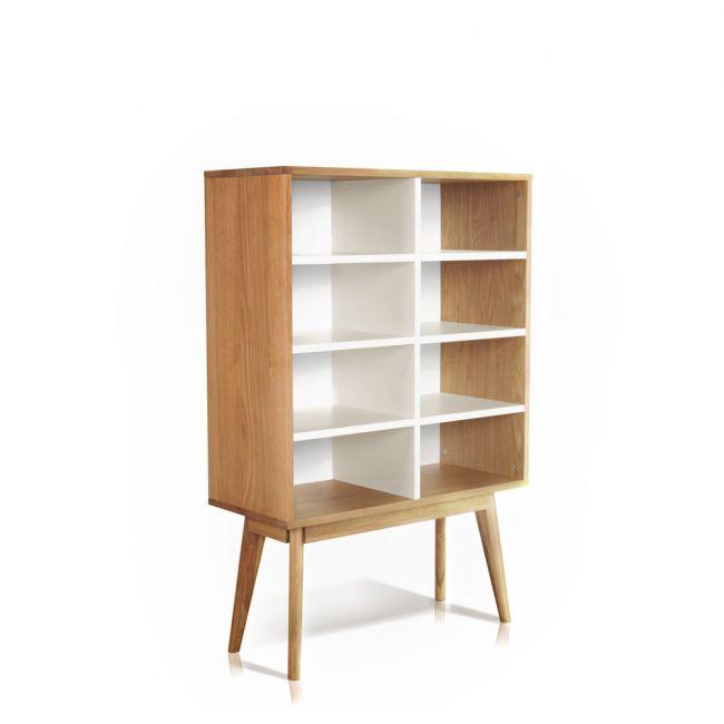 Bibliothèque design scandinave bois 8 niches Skoll