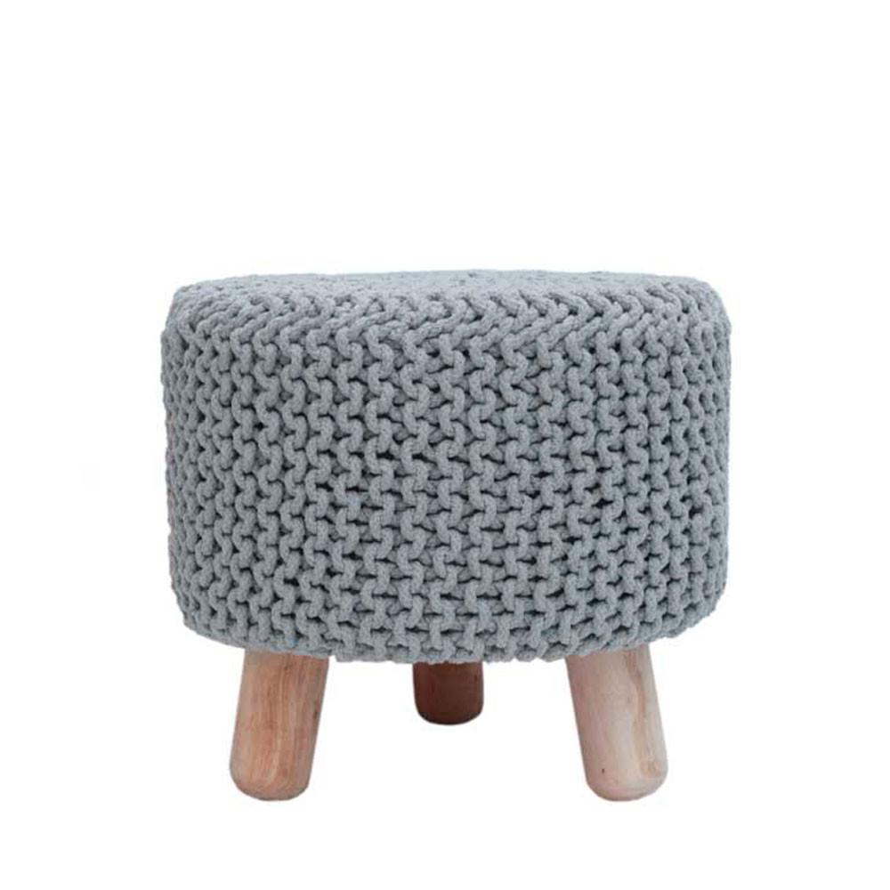 pouf rond tr pied tricot 40cm nin label51 drawer. Black Bedroom Furniture Sets. Home Design Ideas