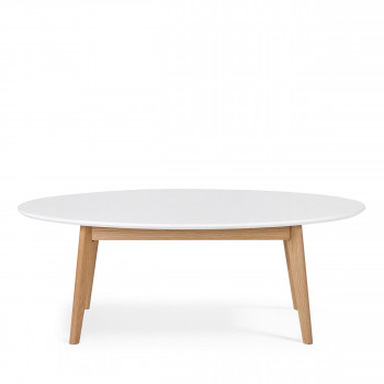 Table basse ovale design scandinave Skoll blanche
