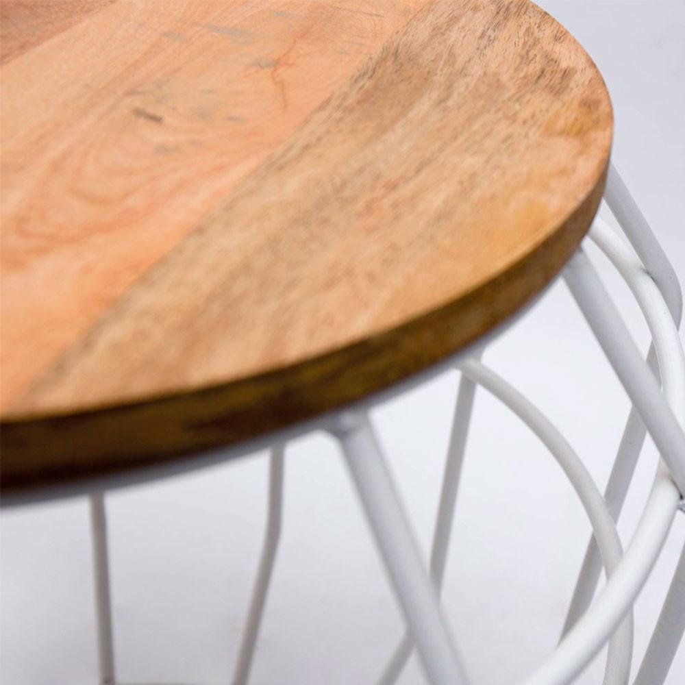 table d 39 appoint m tal et bois l pixel label51 drawer. Black Bedroom Furniture Sets. Home Design Ideas