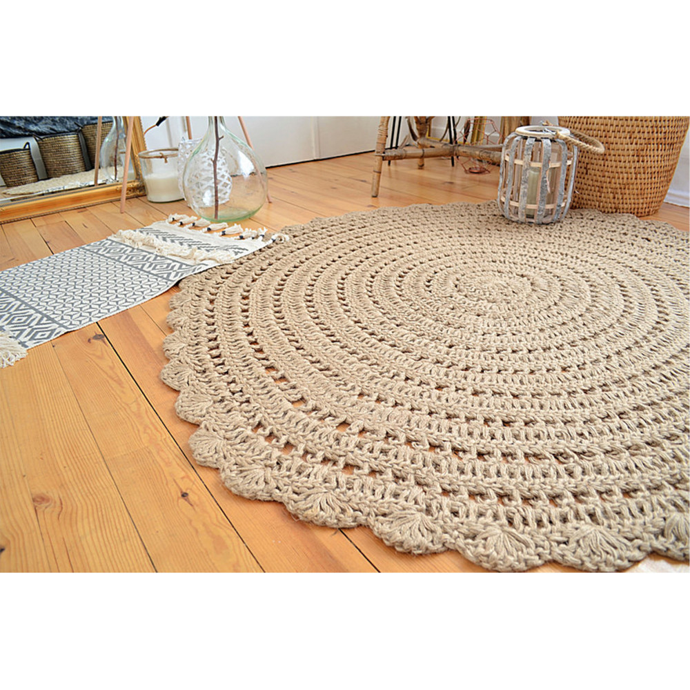 tapis rond en crochet beige corn drawer. Black Bedroom Furniture Sets. Home Design Ideas