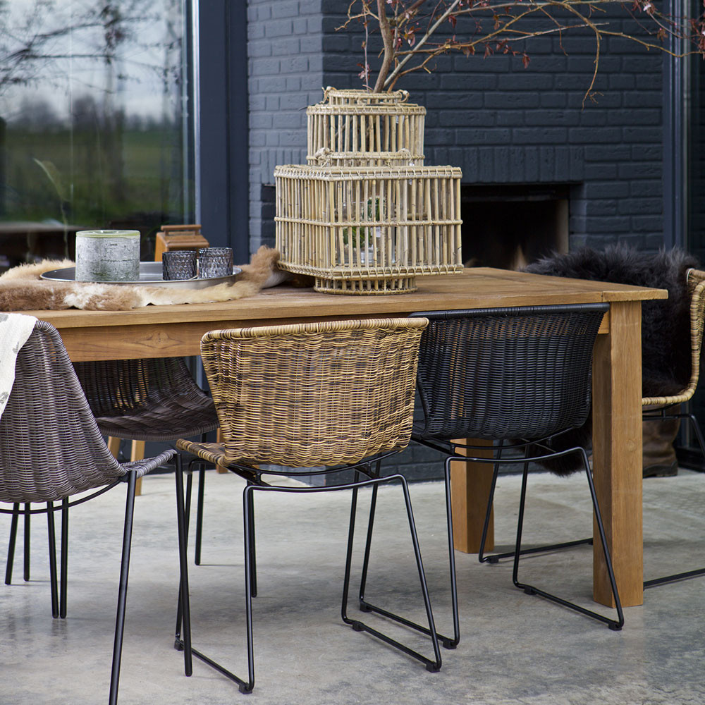 Chaise en rotin for Table a manger rotin