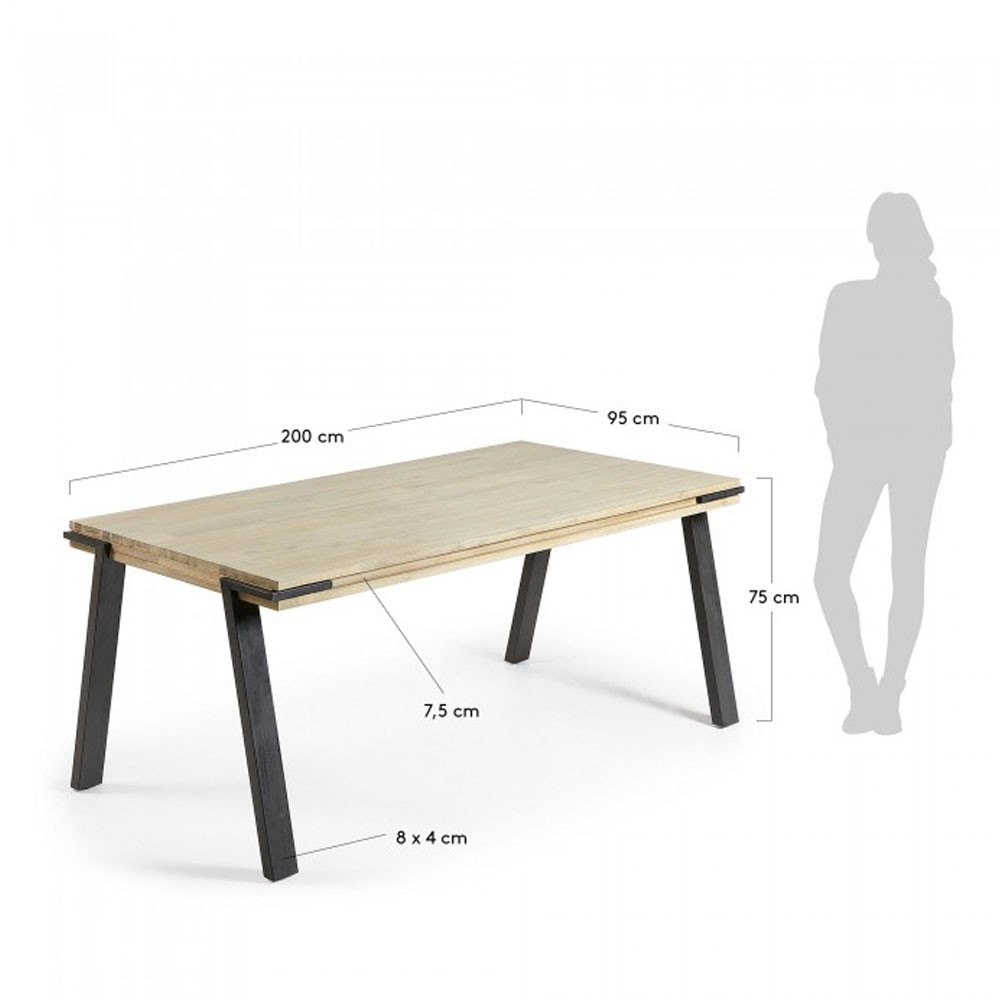 table manger design industriel bois massif et m tal. Black Bedroom Furniture Sets. Home Design Ideas
