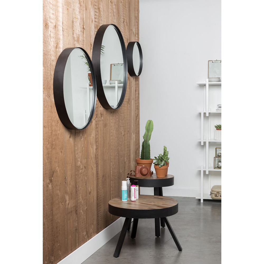 miroir rond mural raj style industriel drawer. Black Bedroom Furniture Sets. Home Design Ideas