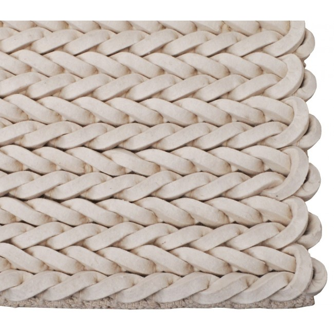 Tapis  de salon en feutre de laine écrue noué main Nienke