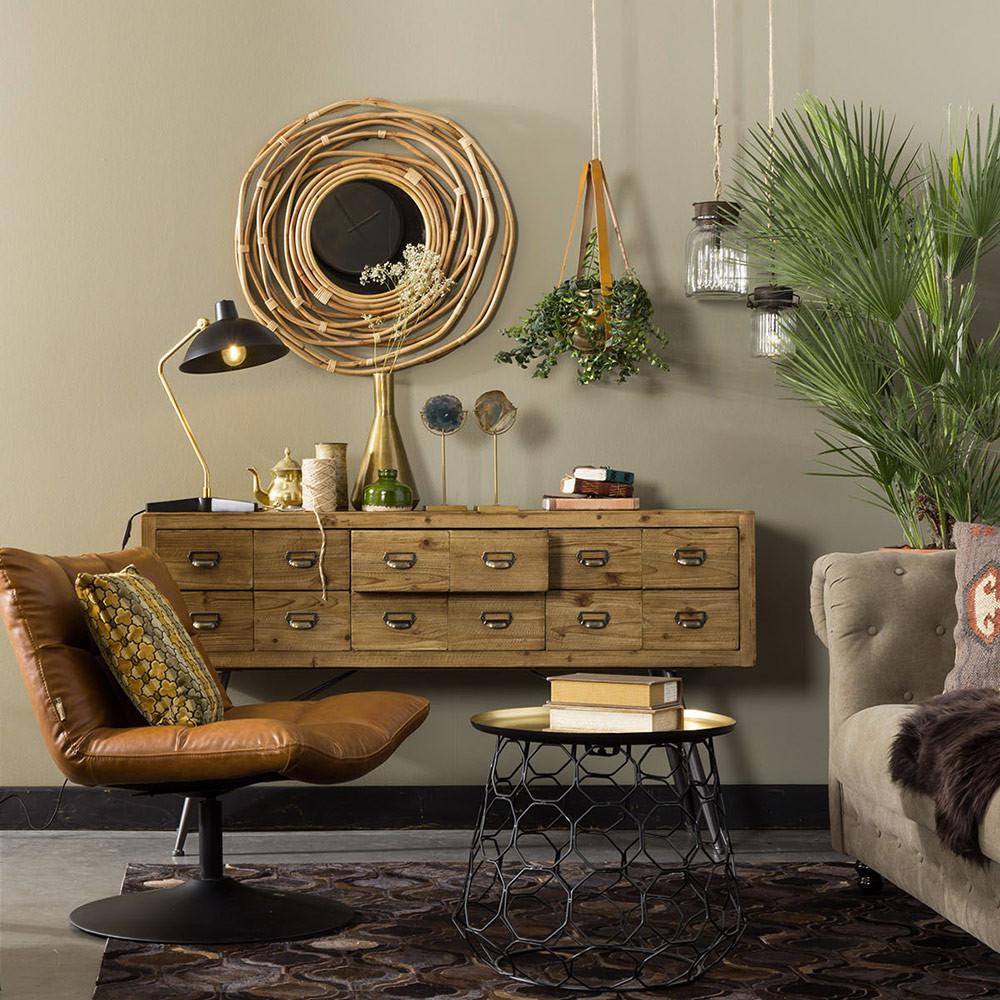 fauteuil fa on cuir pivotant lounge bar dutchbone. Black Bedroom Furniture Sets. Home Design Ideas