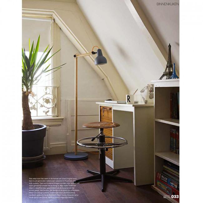 Lampadaire design bois & métal Study blanc