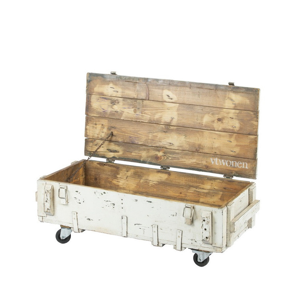 table basse coffre en bois avec roulettes vt army by drawer