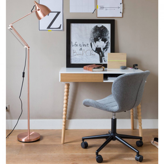 Table de bureau bois et blanc laqué Twisted
