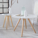Table basse ronde blanche et bois BEE