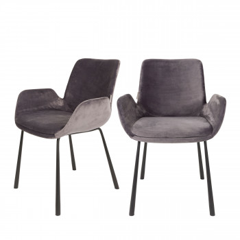 Lot de 2 fauteuils lounge velour Brit Zuiver