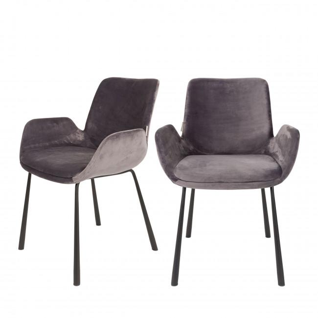 Lot de 2 fauteuils lounge velour Brit Zuiver