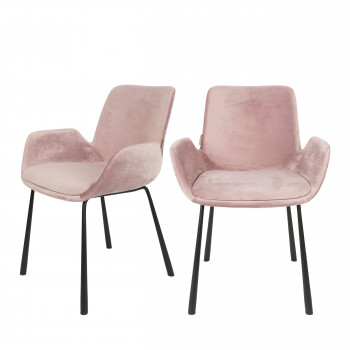 Lot de 2 fauteuils lounge velour rose Brit Zuiver