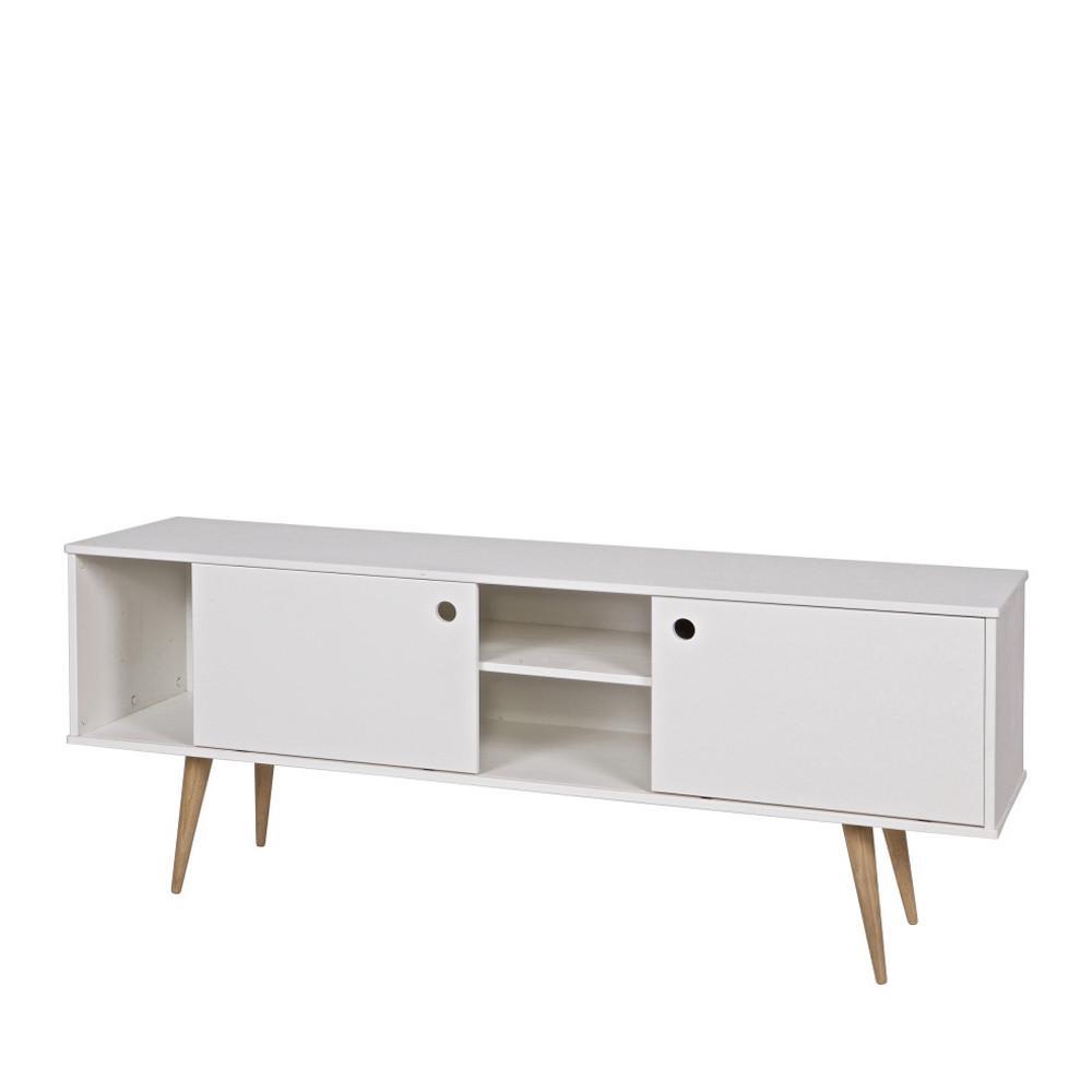 Meuble tv retro blanc et bois par for Meuble tv banc bois