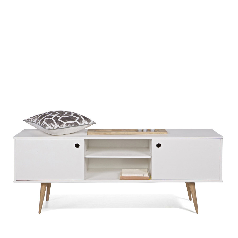 meuble tv retro blanc et bois par. Black Bedroom Furniture Sets. Home Design Ideas