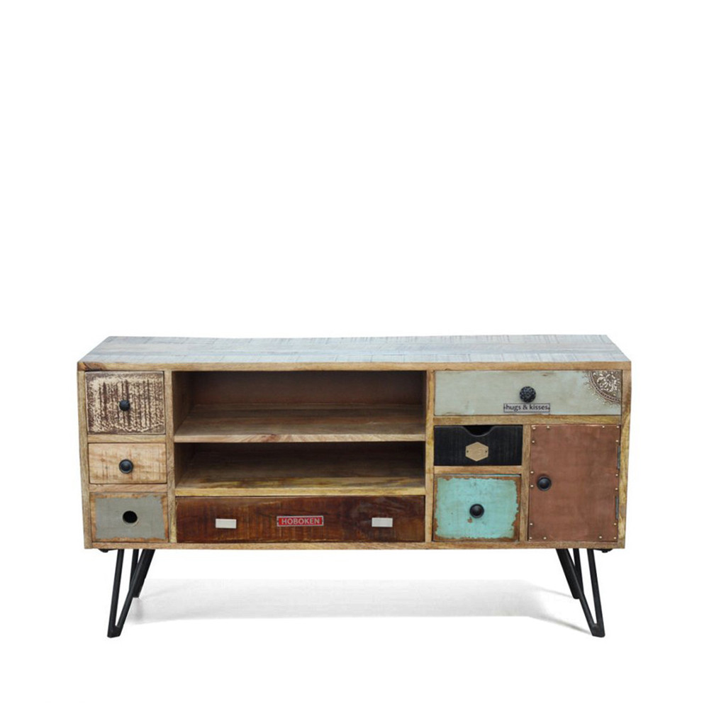Meuble tv vintage en bois fusion by drawer for Meuble tv a tiroirs
