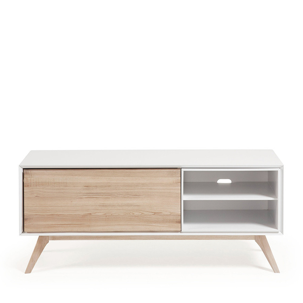Meuble tv design blanc et bois de fr ne joshua by drawer for Meuble tv blanc en bois