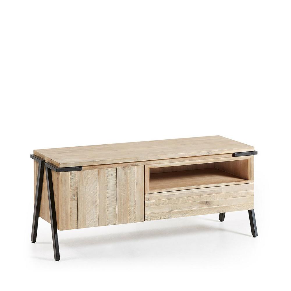 52592fe81f4 ... Meuble TV design bois massif et métal 1 tiroir 1 porte Spike.  Pinterest. New