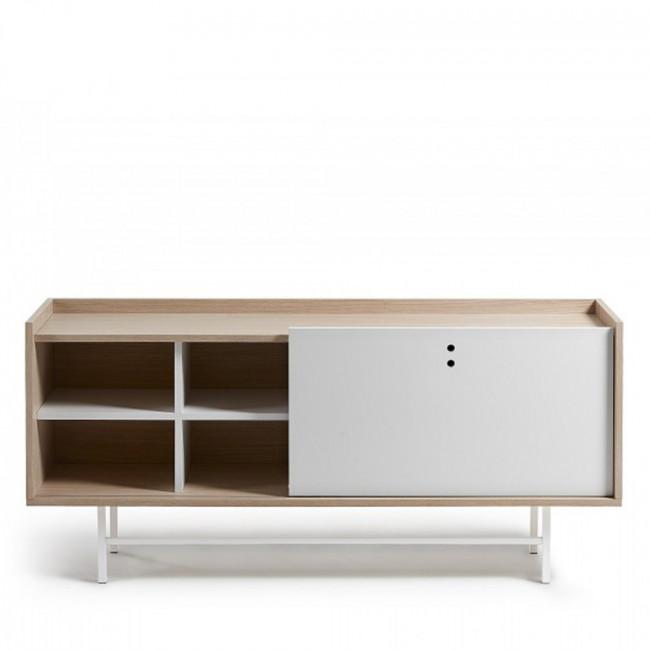 Buffet design scandinave bois blanc mat 155x70 Celia