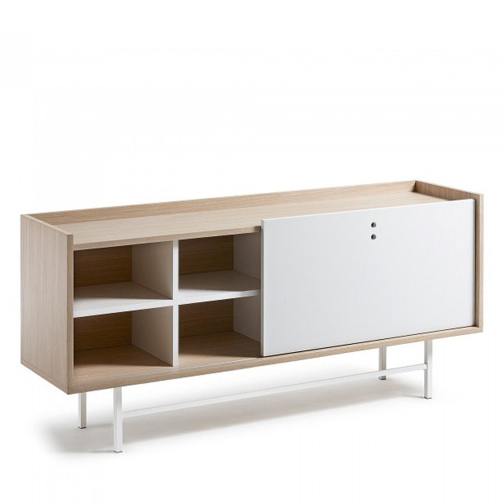 buffet design scandinave bois blanc mat 155x70 celia by drawer. Black Bedroom Furniture Sets. Home Design Ideas