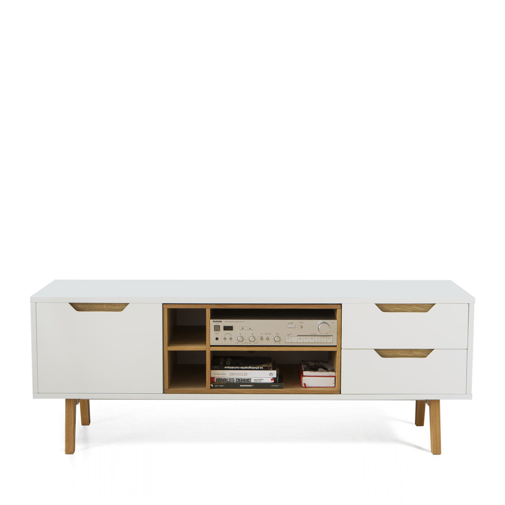 meuble tv design 1porte 2 tiroirs et 4 niches blanc et ch ne 150cm sleek. Black Bedroom Furniture Sets. Home Design Ideas