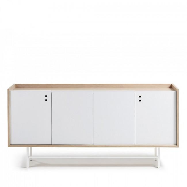 Buffet design scandinave bois blanc mat portes coulissantes 170x80 Celia