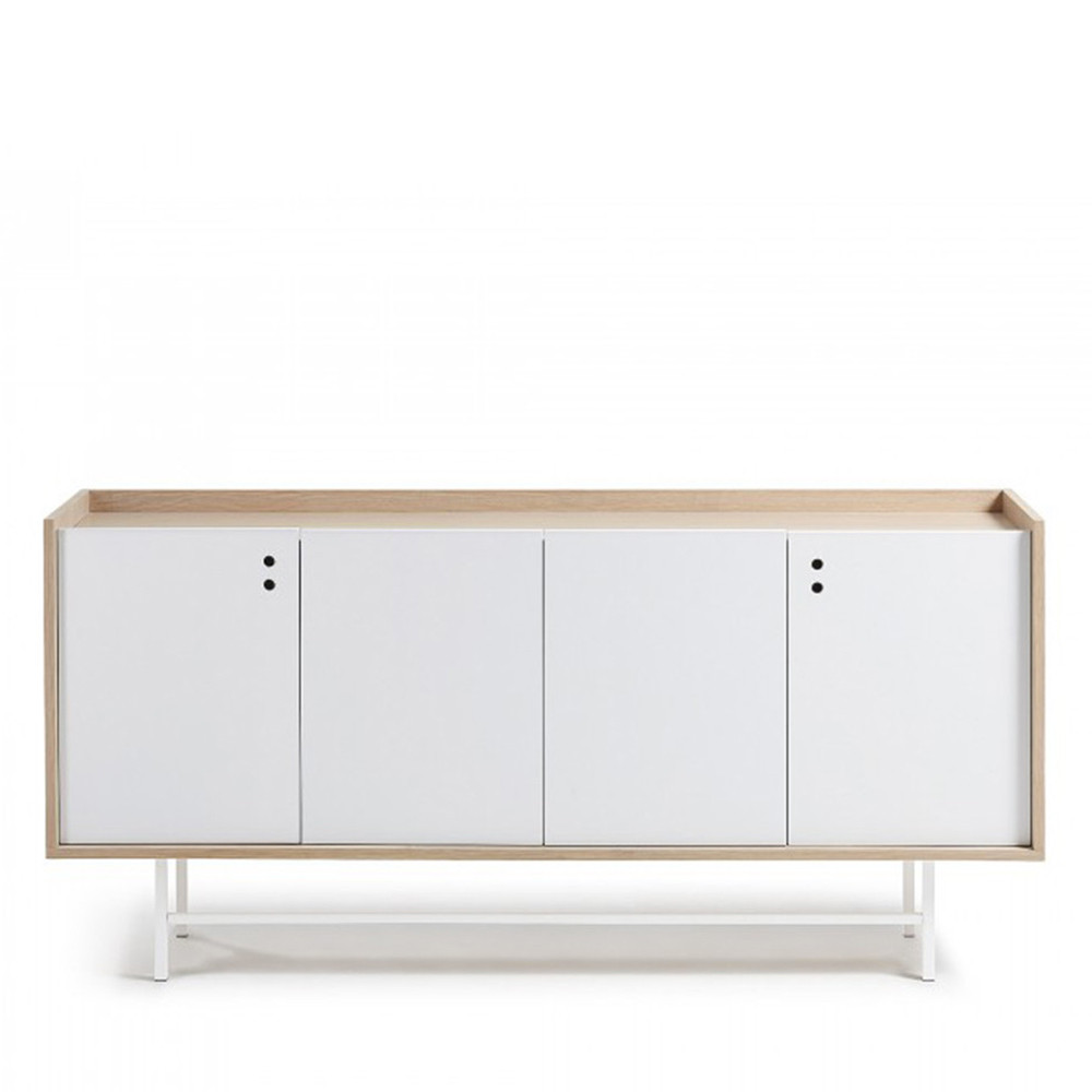 Buffet design scandinave bois blanc mat 170x80 celia by drawer for Buffet bois et blanc
