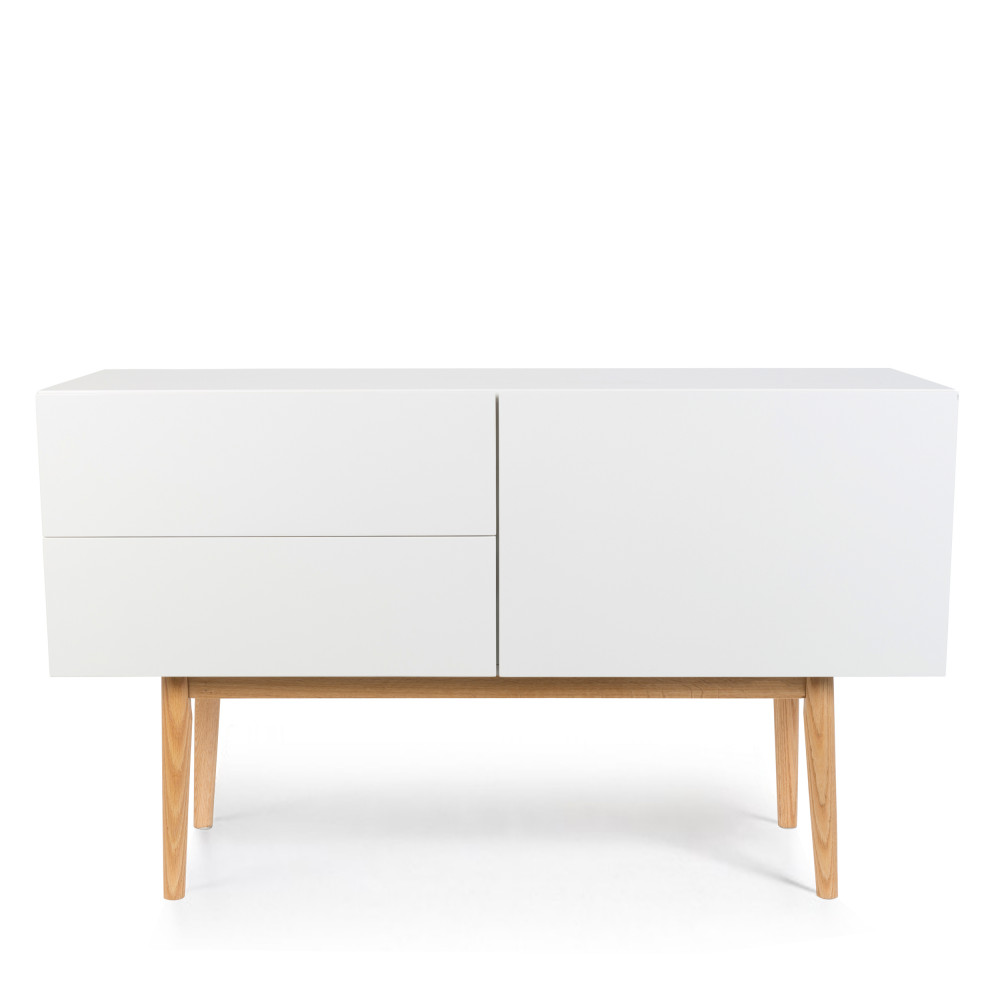 buffet de rangement scandinve laqu blanc et pieds en bois. Black Bedroom Furniture Sets. Home Design Ideas