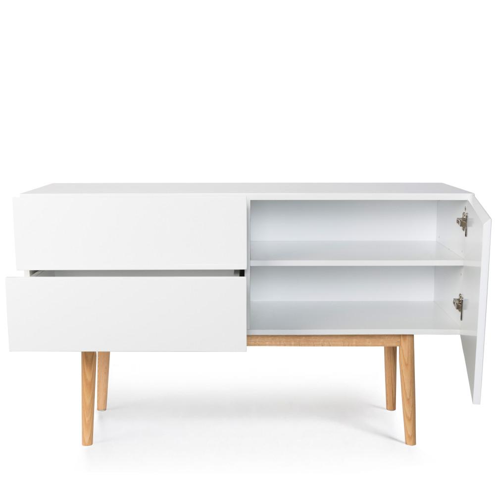 Buffet de rangement scandinve laqu blanc et pieds en bois high wood zuiver - Buffet design scandinave ...