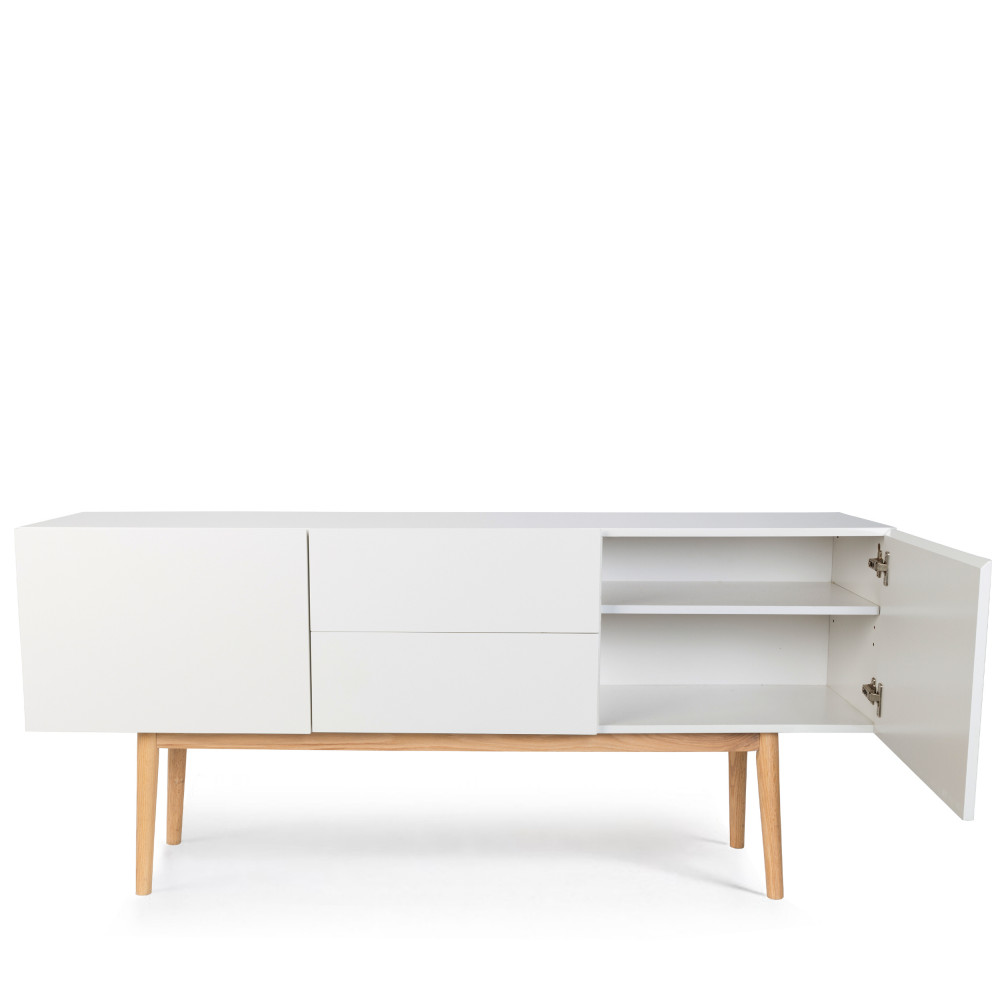 Objet Deco Laque Blanc high wood - buffet design 2 portes 2 tiroirs scandinave