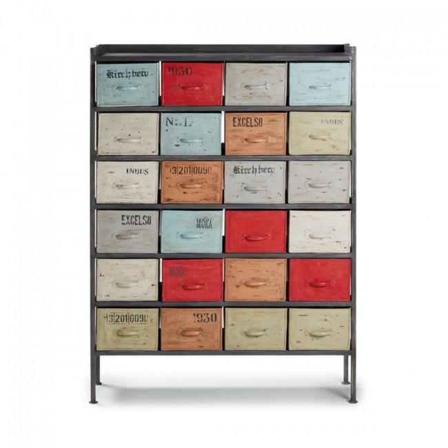 Meuble de rangement semainier industriel 24 tiroirs Keywest
