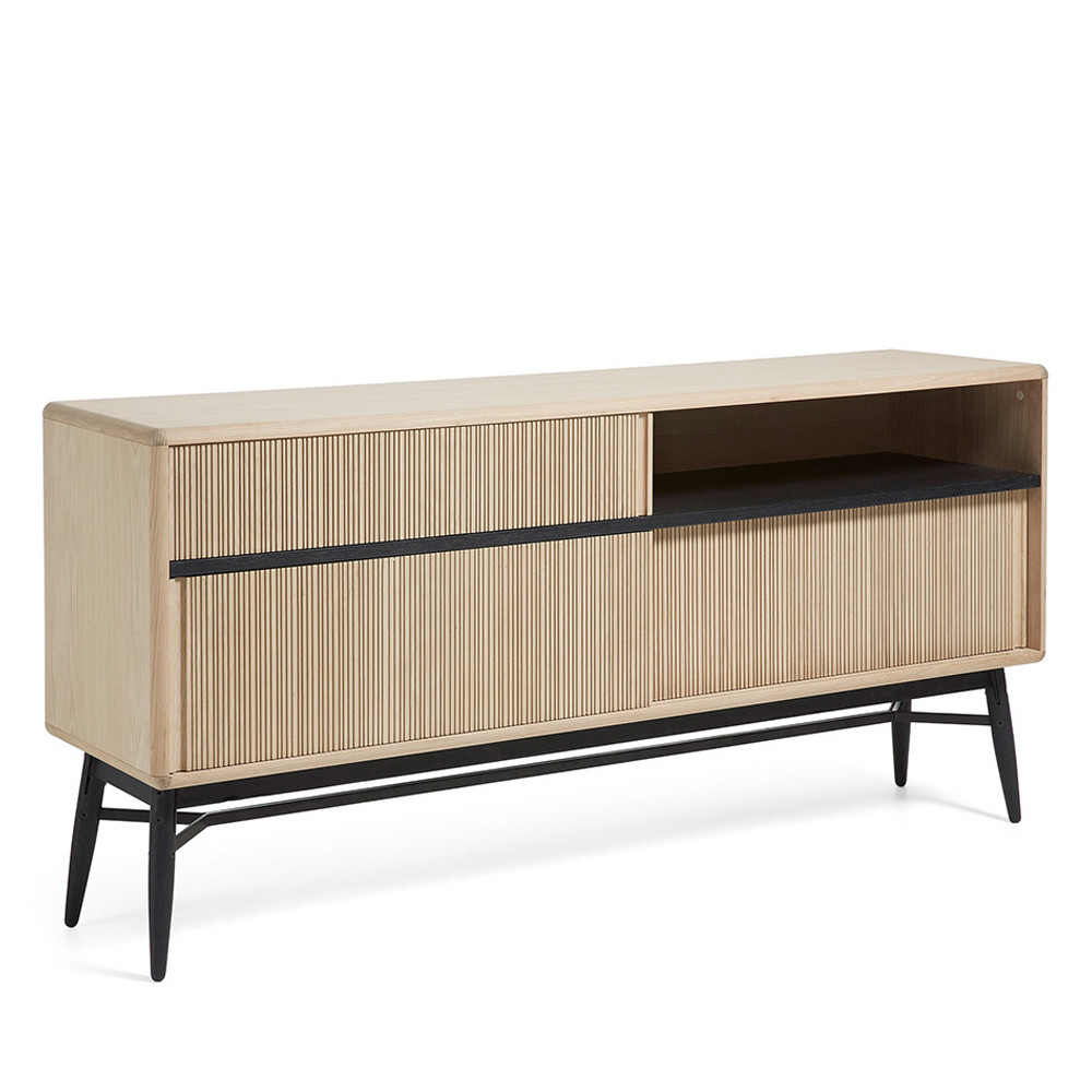 buffet design bois ch ne 3 portes coulissantes 180x85 ray by drawer. Black Bedroom Furniture Sets. Home Design Ideas