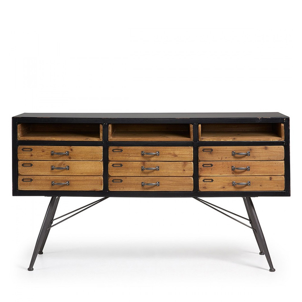 buffet industriel en bois et en m tal refe par. Black Bedroom Furniture Sets. Home Design Ideas