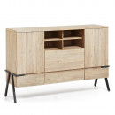 Buffet design bois massif et métal 160x105 3 tiroirs 2 portes Spike