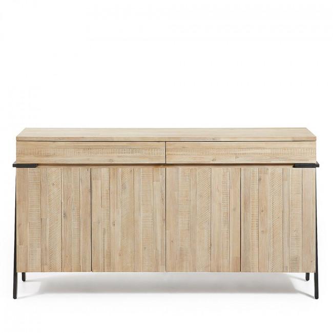 Buffet design bois massif et métal 2 tiroirs 4 portes Spike
