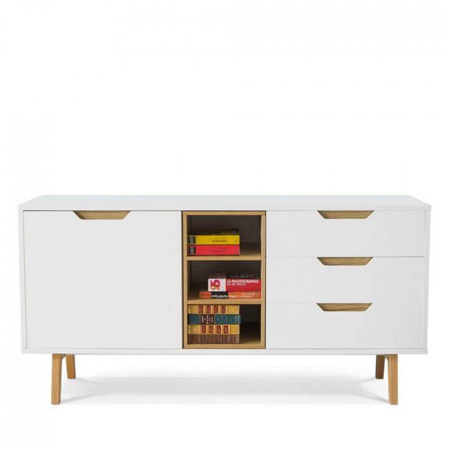 Buffet design blanc et chêne 150cm Sleek