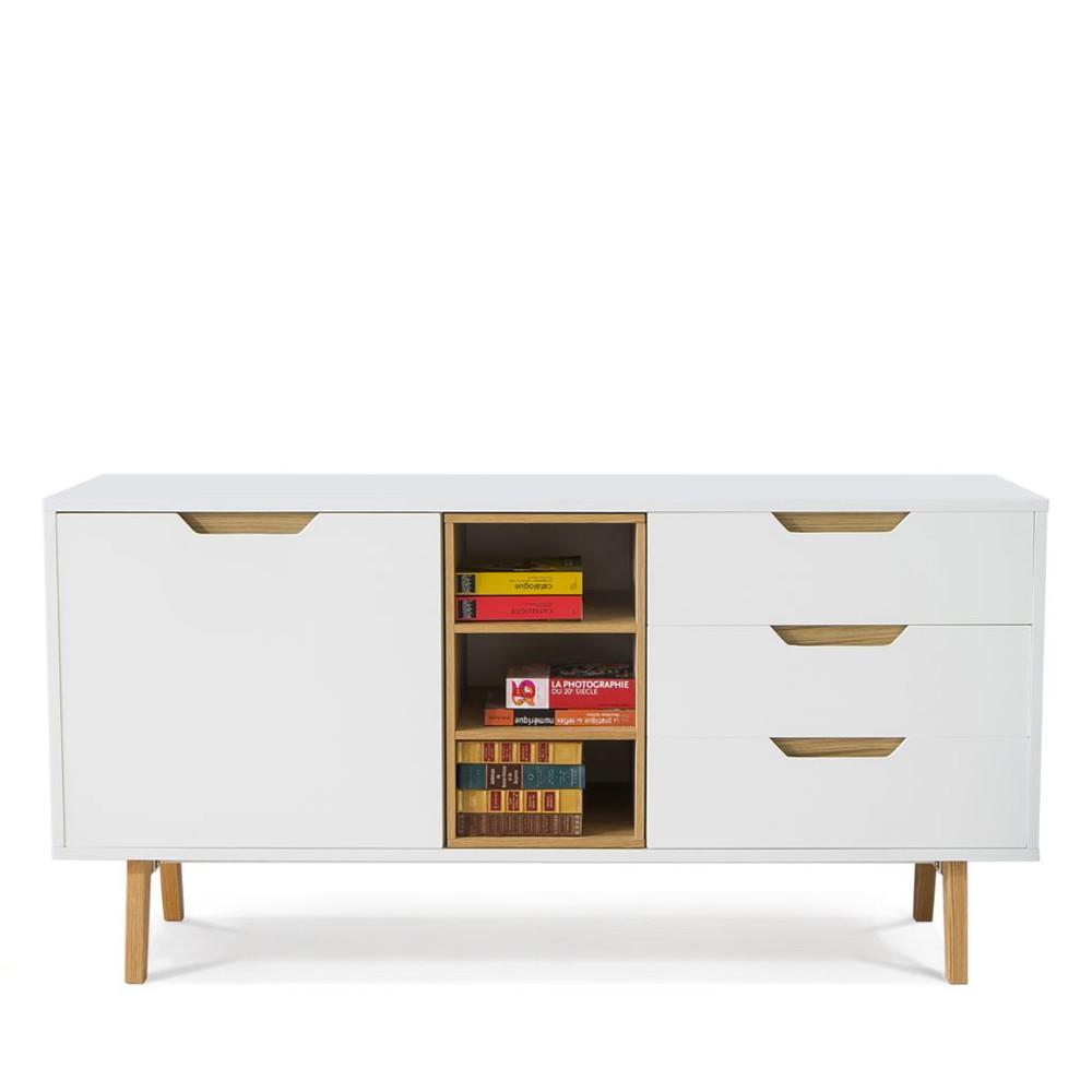 Buffet Design 1 Porte 3 Niches 3 Tiroirs Blanc Et Ch Ne Sleek # Buffet Salon Avec Niche