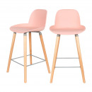 Lot de 2 tabourets de bar résine 65cm Albert Kuip Zuiver Rose