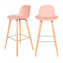 Lot de 2 tabourets de bar résine 75cm Albert Kuip Zuiver Rose