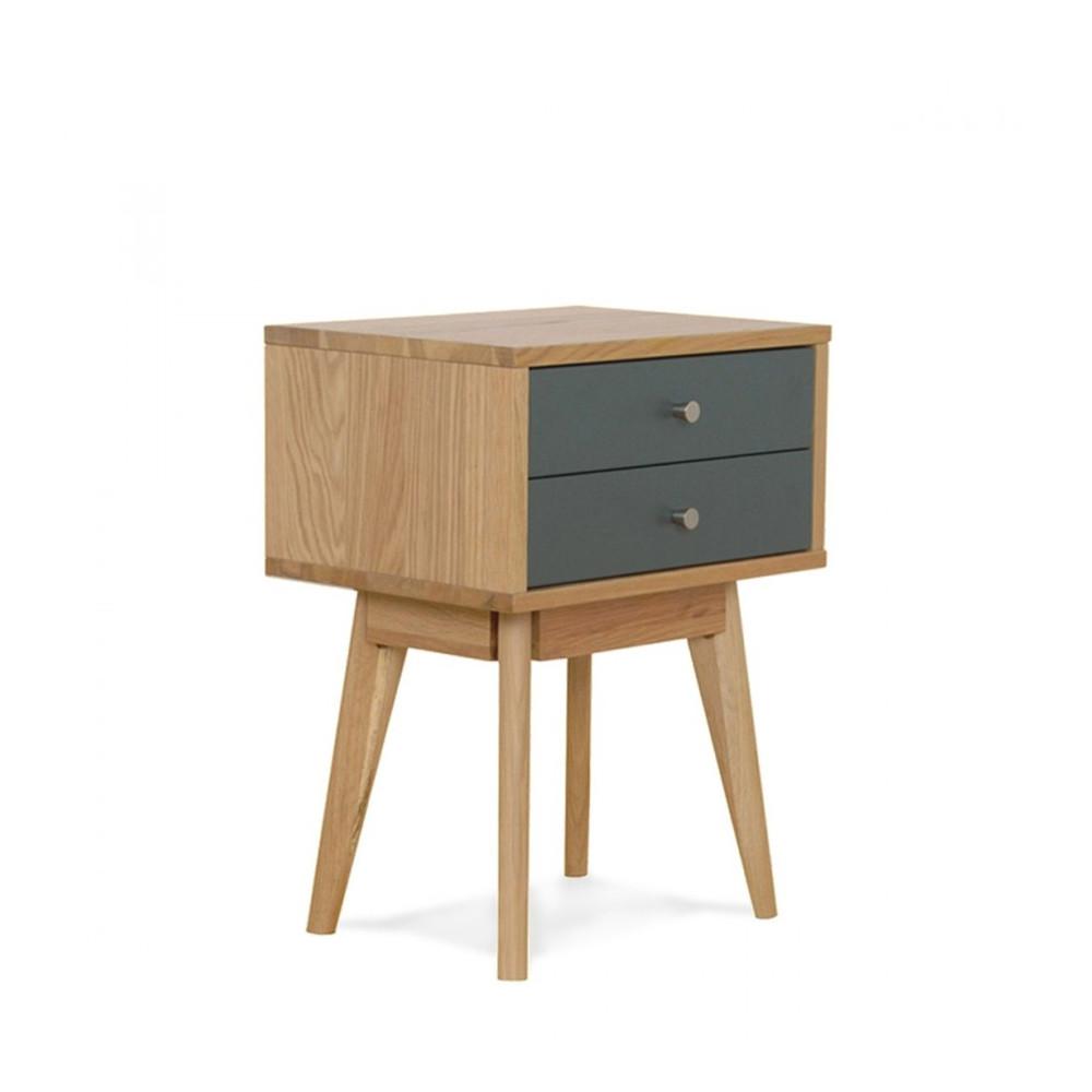 Table de chevet scandinave skoll 2 tiroirs by drawer for Petit meuble plein de tiroirs