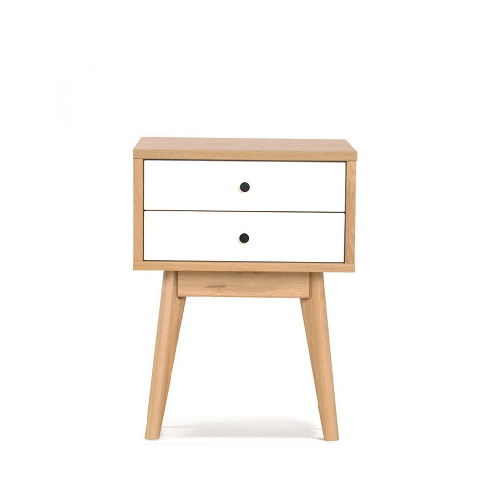 Table de chevet scandinave skoll 2 tiroirs by drawer for Petit meuble de rangement design