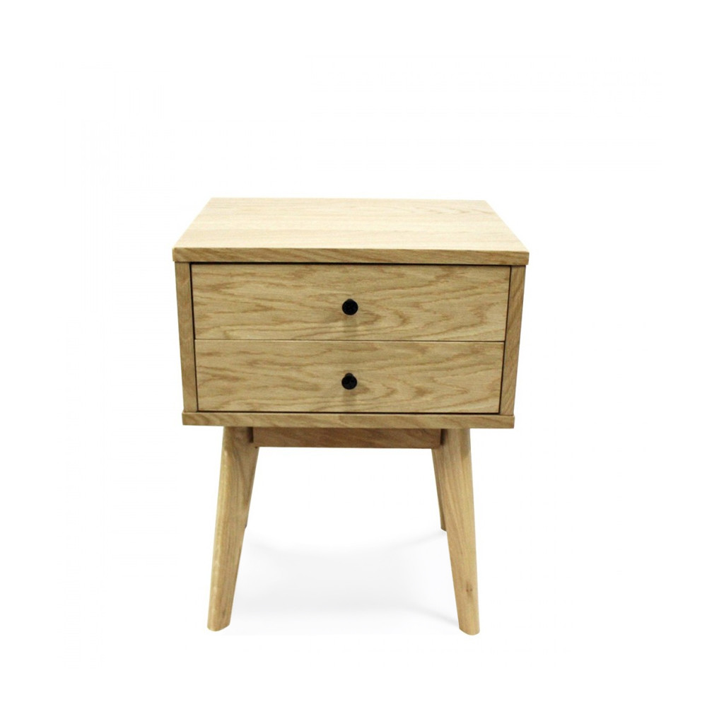 Table de chevet scandinave skoll 2 tiroirs by drawer for Meuble 2 tiroirs