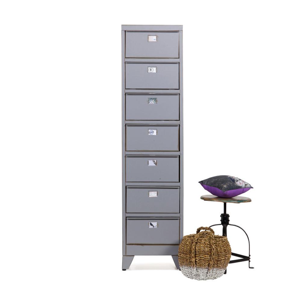 Armoire 7 tiroirs grise marijke par for Petit meuble de rangement style industriel