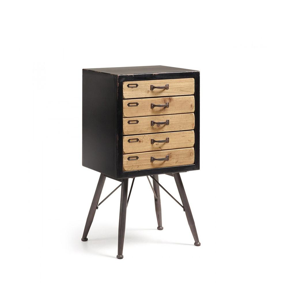 Meuble de rangement vintage bois et m tal 5 tiroirs refe for Meuble 5 tiroirs