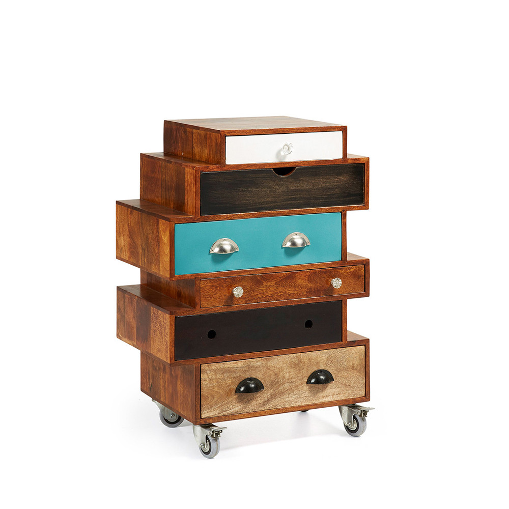 commode design bois de manguier multicolore robin by drawer. Black Bedroom Furniture Sets. Home Design Ideas
