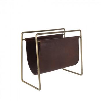 Porte revues vintage cuir et métal Scholar