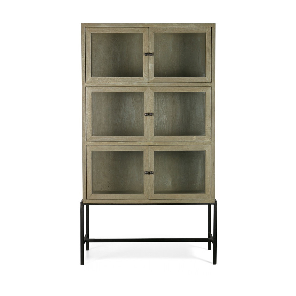 armoire design industriel 6 portes verre et bois showcase by drawer. Black Bedroom Furniture Sets. Home Design Ideas