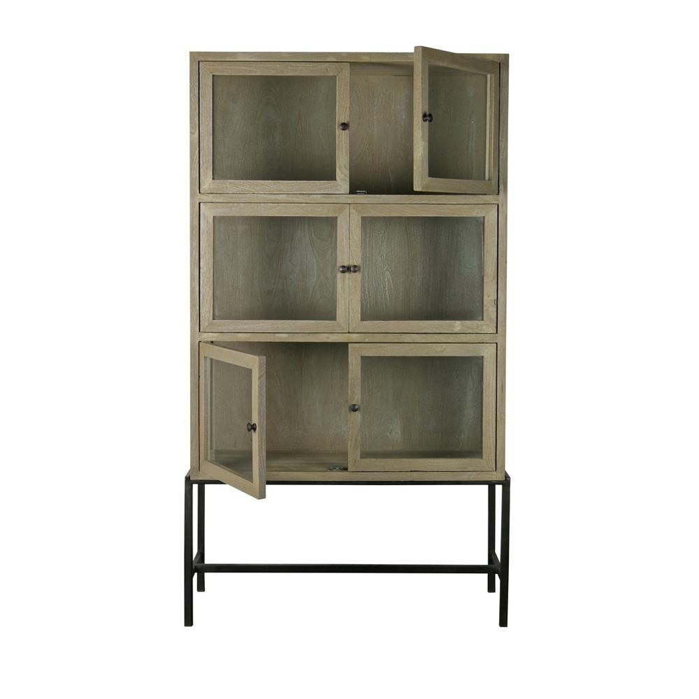 armoire design industriel 6 portes verre et bois showcase. Black Bedroom Furniture Sets. Home Design Ideas